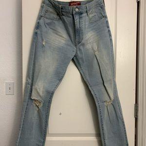 Arizona Mens Distressed Slim Jeans